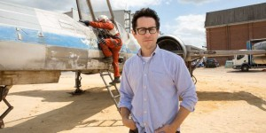 J.J. Abrams with X-Wing from Star Wars: Episode VII