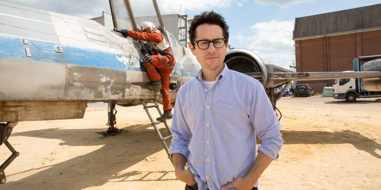 J.J. Abrams with X-Wing from Star Wars: The Force Awakens