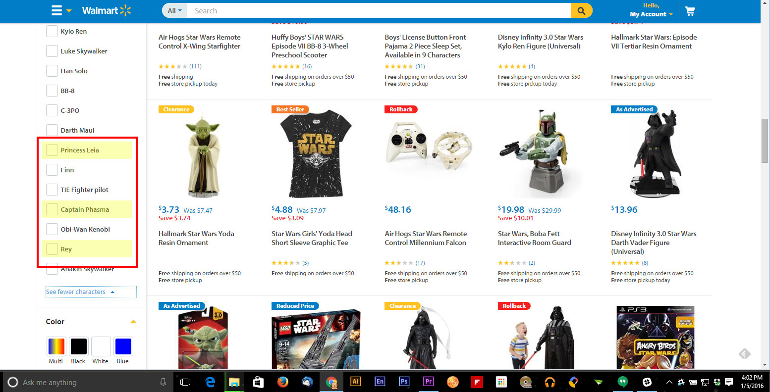 Walmart Character Listing for Star Wars